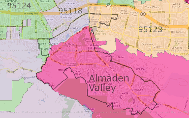 Map of Almaden Valley in San Jose CA